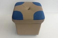 pouf en cuir de luxe - belle qualité- cuir épais - beige et bleu - vista