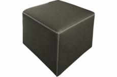 pouf carré buffalo en cuir de buffle (gamme de cuir de buffle), gris foncé