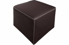 pouf carré buffalo en cuir de buffle (gamme de cuir de buffle), chocolat