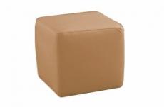 un pouf carré en cuir, beige