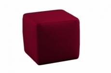 un pouf carré en cuir, bordeaux
