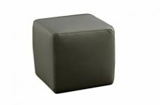 un pouf carré en cuir, gris foncé