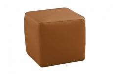 un pouf carré en cuir, marron