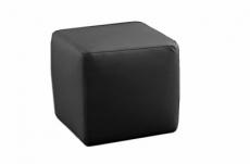 un pouf carré en cuir, noir