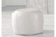 pouf rond buffalino en cuir de buffle (gamme de cuir de buffle), blanc