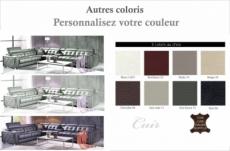 canapé d'angle en cuir de buffle italien de luxe 6/7 places, prestigia, couleur personnalisée, angle gauche