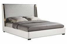 lit design en cuir italien de luxe perfecto, avec sommier à lattes, blanc, 180x200