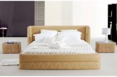 lit design en cuir italien de luxe prima, beige