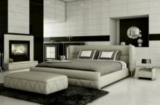 lit design en cuir italien de luxe prima, gris clair pastel