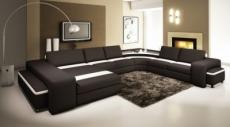 canapé d'angle provence en cuir haut de gamme italien vachette, noir et blanc, table offerte, et grande banquette, angle droit