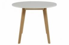 table à manger rania en bois avec un plateau blanc