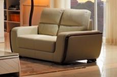 canapé 2 places en cuir italien buffle ravena, beige