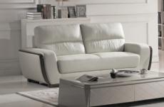 canapé 3 places en cuir italien buffle ravena, blanc