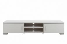 meuble tv design, en bois laqué blanc, raxon
