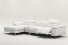 canapé d'angle en cuir italien 5 places relaxia, blanc