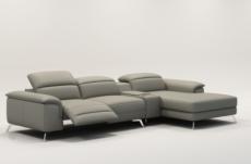 canapé d'angle en cuir italien 5 places relaxia, gris clair.