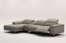 canapé d'angle en cuir italien 5 places relaxia, gris clair