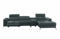 canapé d'angle en cuir italien 5 places relaxia, gris foncé