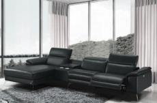 canapé d'angle en cuir italien 5 places relaxia, noir