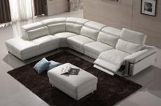 canapé d'angle relax en cuir buffle italien de luxe relaxino,  blanc, angle gauche