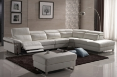 canapé d'angle relax en cuir buffle italien, de luxe relaxino,  blanc, angle droit