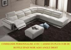 commande personnalise sur demande canapé d'angle relax en cuir buffle epais  italien, de luxe relaxino avec 1 assise en plus ,  noir ag03, angle droit