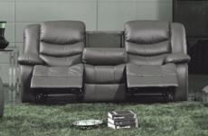 canapé 3 places relaxation en cuir italien relaxis, gris foncé
