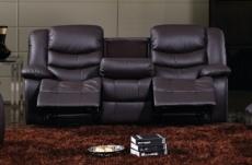 canapé 3 places relaxation en cuir italien relaxis, noir