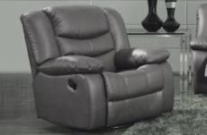 fauteuil 1 place relaxation en cuir italien relaxis, gris foncé