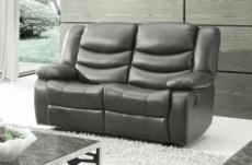 canapé 2 places relaxation en cuir italien relaxis, gris foncé
