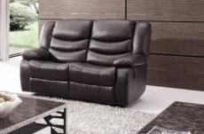 canapé 2 places relaxation en cuir italien relaxis, noir