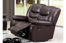canapé 2 places relaxation en cuir italien relaxis, effet balancier pour le 2 places, chocolat