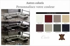 canapé d'angle en cuir de buffle italien 7/8 places relaxzen, couleur personnalisée, angle droit