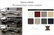 -canapé d'angle en cuir de buffle italien de luxe 7/8 places relaxzen, couleur personnalisée, angle gauche