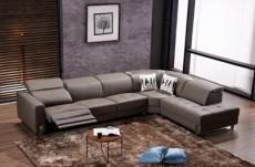 canapé d'angle en cuir de buffle italien 7/8 places relaxzen, chocolat, angle droit
