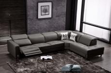 canapé d'angle en cuir de buffle italien 7/8 places relaxzen, noir, angle droit