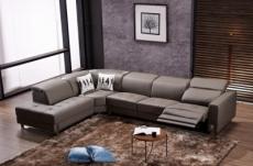 -canapé d'angle en cuir de buffle italien de luxe 7/8 places relaxzen, chocolat, angle gauche