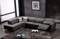 -canapé d'angle en cuir de buffle italien de luxe 7/8 places relaxzen, noir, angle gauche
