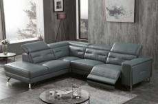 canapé d'angle avec un relax électrique en cuir de buffle italien de luxe 6 places revolax gris foncé, angle gauche,  pouf offert