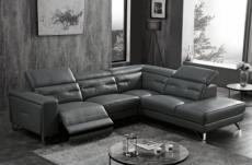 canapé d'angle avec un relax électrique en cuir de buffle italien de luxe 6 places revolax noir, angle droit,  pouf offert