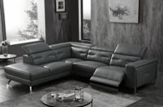 -canapé d'angle avec un relax électrique en cuir de buffle italien de luxe 6 places revolax noir, angle gauche,  pouf offert -