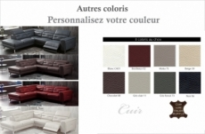 canapé d'angle avec un relax électrique en cuir de buffle italien de luxe 6 places revolax couleur personnalisée, angle gauche,  pouf offert