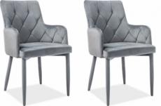 lot de 2 chaises rica en tissu velours de qualité, couleur gris