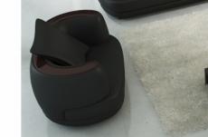 fauteuil 1 place en cuir italien richmond, noir