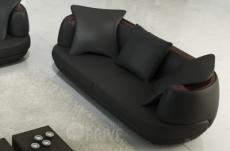 canapé 2 places en cuir italien richmond, noir