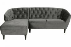 - canapé d'angle en tissu matelassé de qualité rita coloris gris foncé, angle gauche