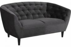 canapé 2 places en tissu matelassé rita coloris gris foncé