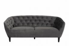 canapé 3 places en tissu matelassé rita coloris gris foncé