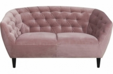 canapé 2 places en tissu matelassé rita coloris rose pale
