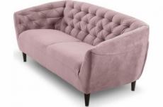 canapé 3 places en tissu matelassé rita coloris rose pale